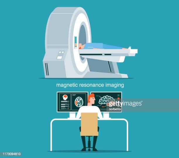 illustrazioni stock, clip art, cartoni animati e icone di tendenza di scansione e diagnostica della risonanza magnetica - macchinario