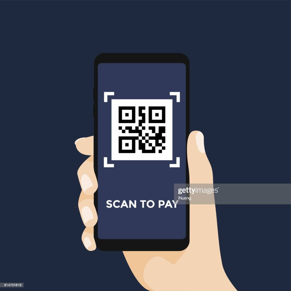 Scan QR code to pay with Mobile phone. Scanning barcode with telephone.