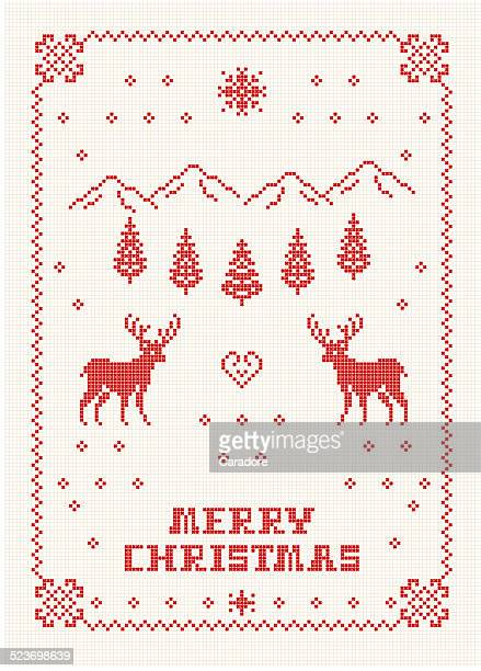 scandi christmas embroidery - embroidery stock illustrations