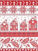 Scandinavian and Norwegian Christmas folk inspired festive autumn and winter  seamless pattern in cross stitch with acorn, oak leaf, gingerbread house, snow snowflakes and ornaments in red and white