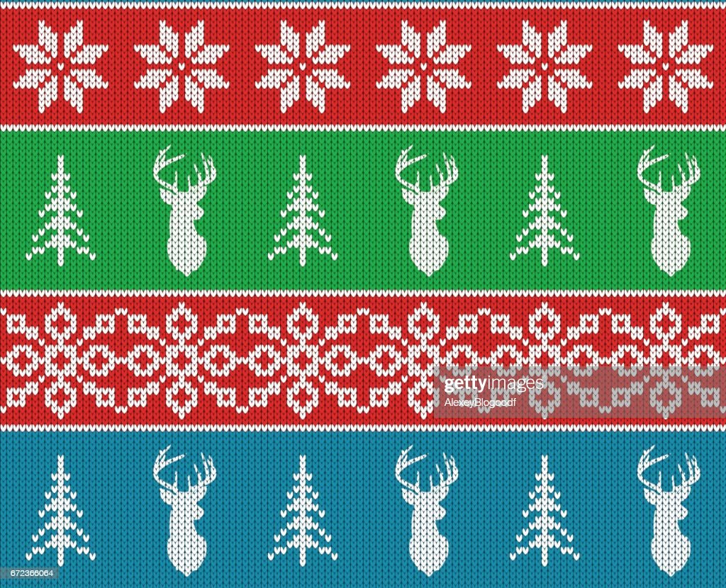 Scandinavian christmas winter seamless knitted pattern. Head deer silhouette or reindeer, snowflake and christmas tree. White pixel images with blue, green and red background. Vector illustration.