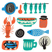Scandinavian food concept. Hand drawn illustration, made in vector. Crayfish, bowl, fish, cabbage, jam, cup, sandwich.