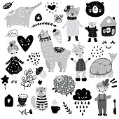 Scandinavian kids doodles elements pattern set color wild animal hand drawn bear lamma cat's monkey, girl, turtle, lamb, house, zebra, sun, face, bear, turtle, giraffe,lamb, grey white black