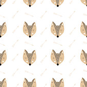 Scandinavian kids doodles zoo seamlessß pattern set color wild animals hand drawn fox brown and yellow with doodle elements arrows stars white background
