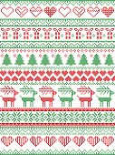 Scandinavian, Nordic style winter stitching Christmas pattern including snowflakes, hearts, Christmas present, snow, star, Christmas tree, reindeer and decorative ornaments in red, white.green