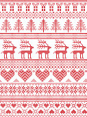 Scandinavian, Nordic style winter stitching Christmas pattern including snowflakes, hearts, Christmas present, snow, star, Christmas tree, reindeer and decorative ornaments in red, white