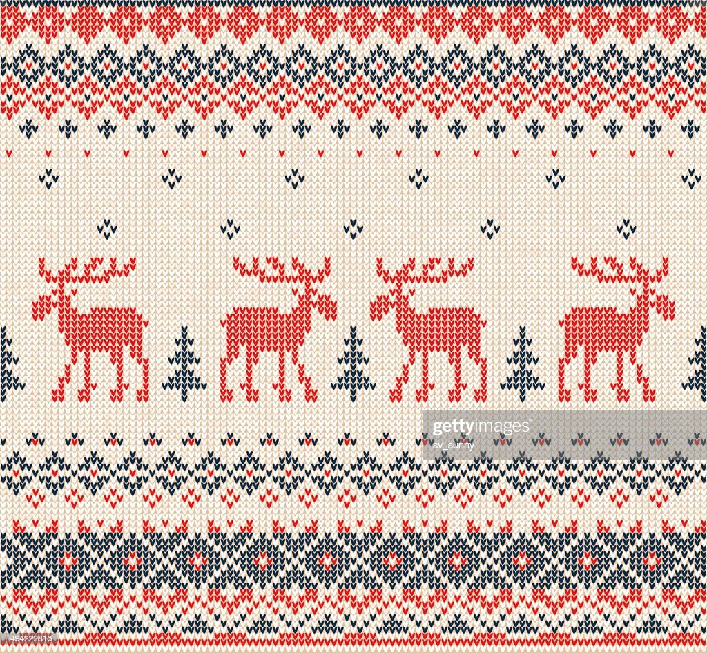 Scandinavian or Russian flat style knitted pattern with deers