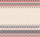 Scandinavian or Russian style knitted background with borders