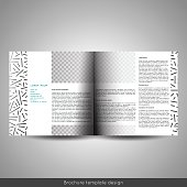 Scandinavian style business or educational template bi fold square brochure design layout, flyer or booklet