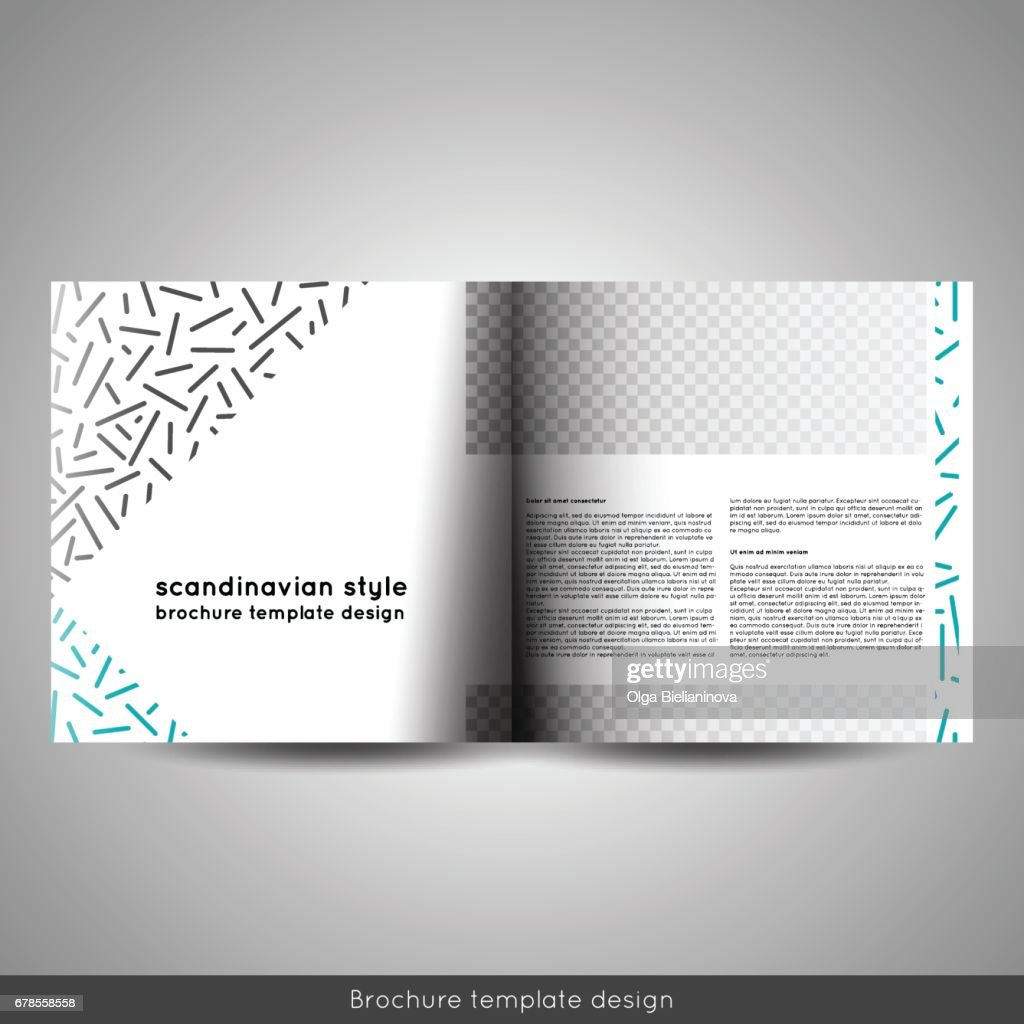 北欧スタイルのビジネスや教育テンプレート bi 折る正方形パンフレット