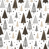 Scandinavian tree seamless pattern for winter and christmas holiday theme vector illustration background.