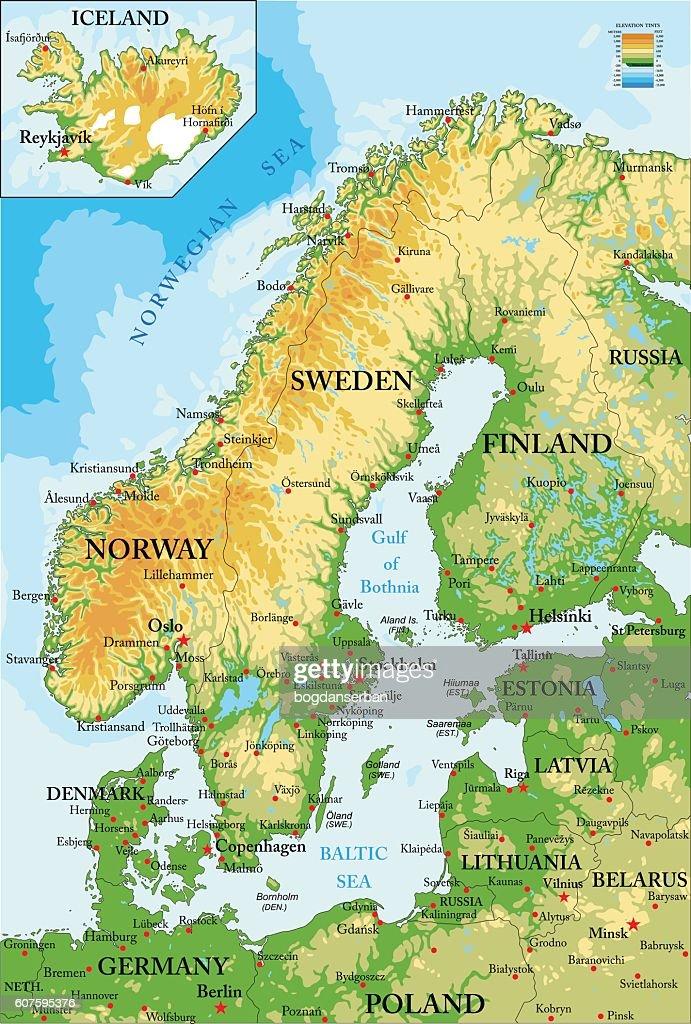 Scandinavia-physical map