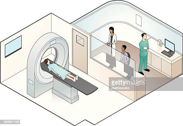 mri scanner illustration - oncology stock illustrations, clip art, cartoons, & icons