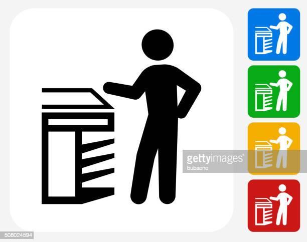 scanning icon flat graphic design - photocopier stock illustrations, clip art, cartoons, & icons