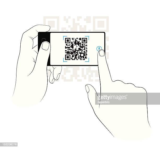 scanning on a smart phone - wide screen stock illustrations