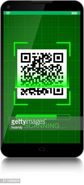 scanning qr code - bar code reader stock illustrations, clip art, cartoons, & icons