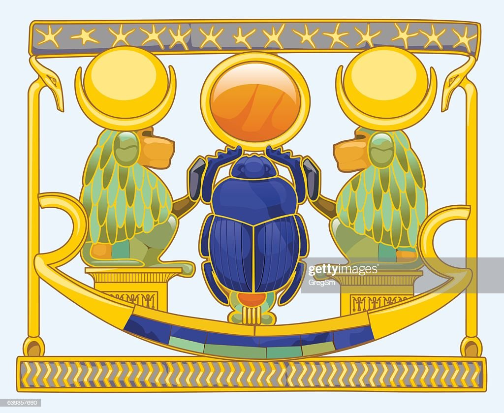 Scarab with baboons