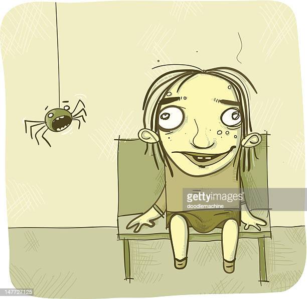 scardy spider - phobia stock illustrations, clip art, cartoons, & icons