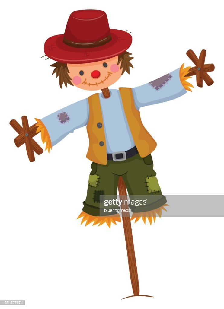 Scarecrow wearing red hat and vest