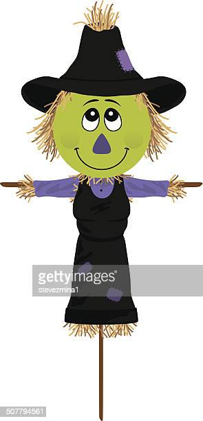 scarecrow witch - zea stock illustrations, clip art, cartoons, & icons