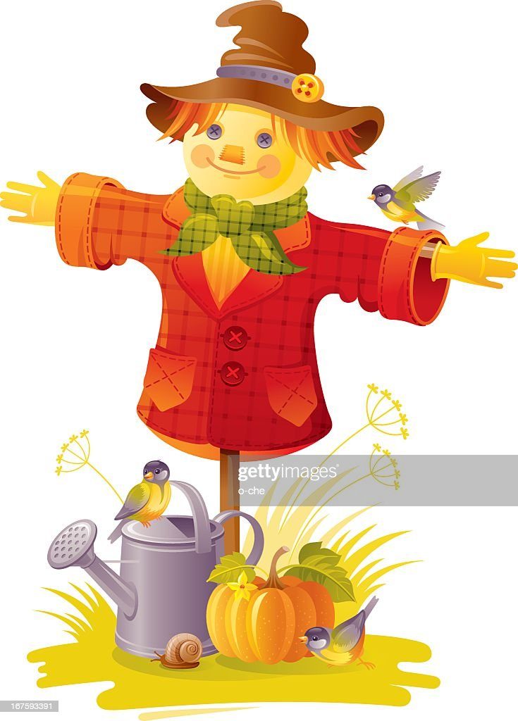 Scarecrow with birds, pumpkin and watering can