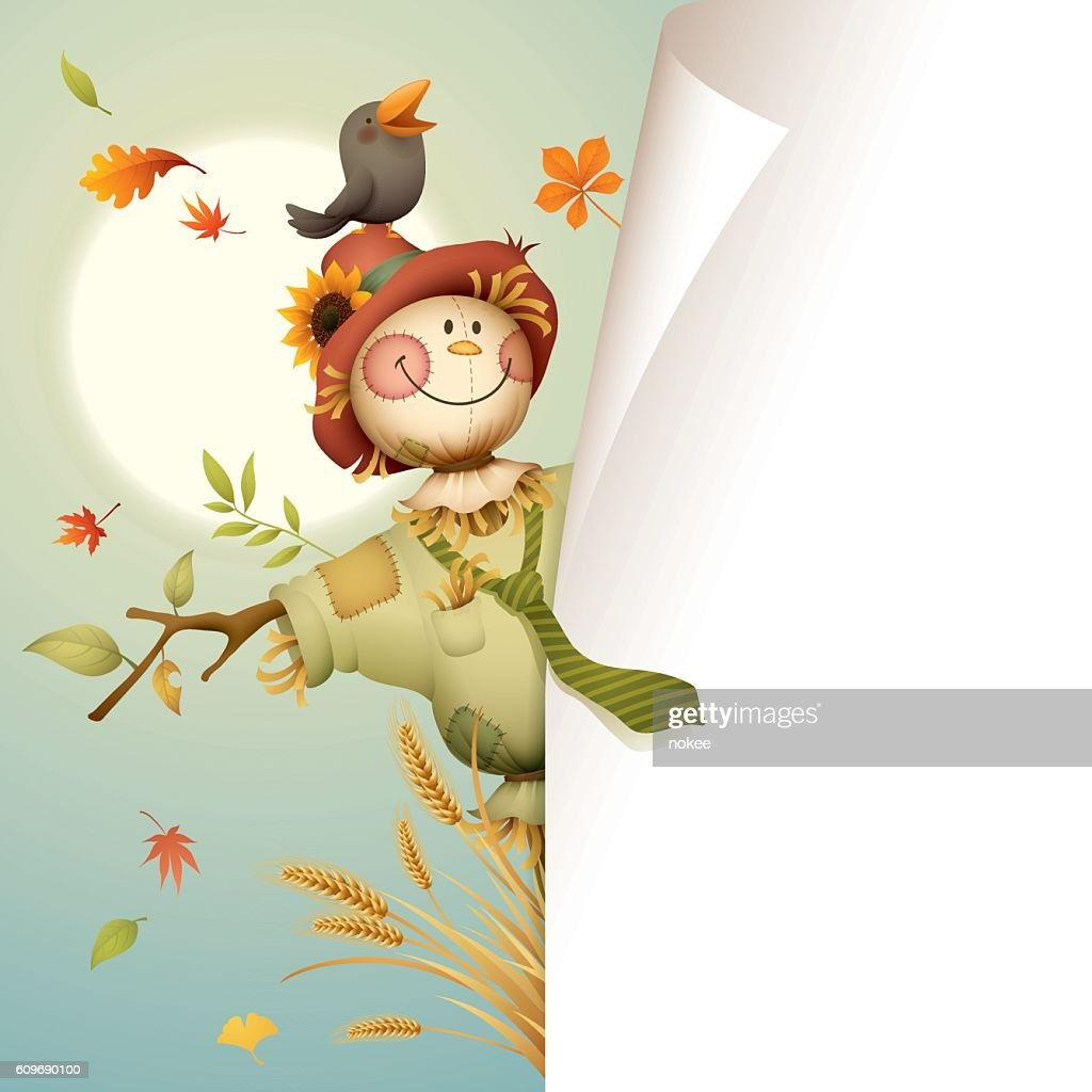 Scarecrow with page curl for copy space