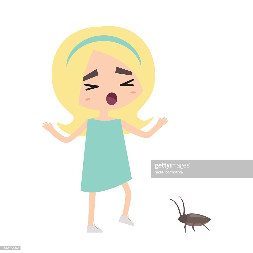 Scared blond retro girl and a cockroach