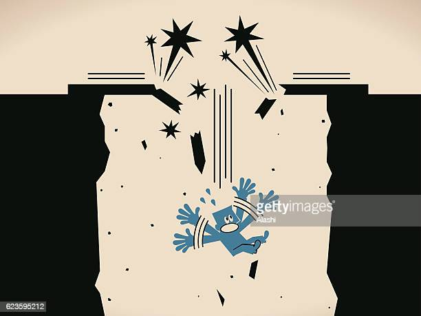 scared businessman falling down form a broken bridge and screaming - downsizing unemployment stock illustrations, clip art, cartoons, & icons