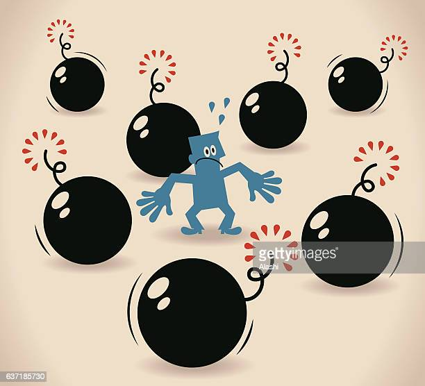 scared businessman was surrounded by bombs - surrounding stock illustrations, clip art, cartoons, & icons