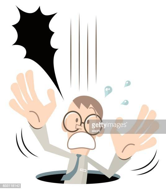 Scared businessman (man, nerd, student) with glasses falling down (fell into a hole, pitfall), screaming and shouting, hand raised