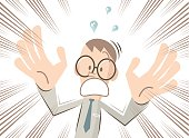 Scared businessman (man, nerd, student) with glasses is screaming and shouting, hand raised