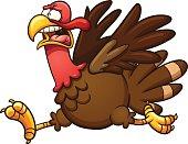 Scared cartoon turkey