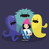 Scared female character surrounded by ugly monsters / flat editable vector illustration, clip art