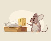 Scared mouse character trying to get cheese out of mousetrap