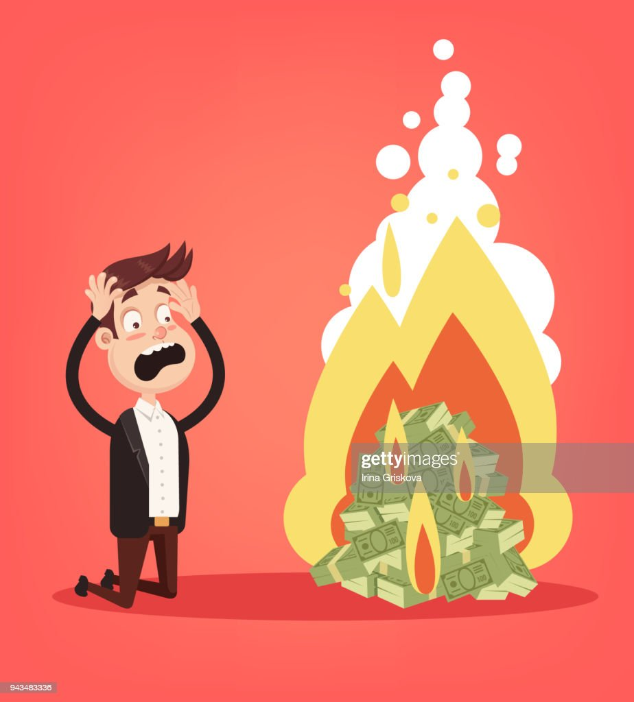 Scared screaming office worker businessman entrepreneur man character looking on burning fire heap of money dollars currency paper note. Cash burn commercial banking bankruptcy crisis. Financial fail inflation concept. Vector flat cartoon design graphic