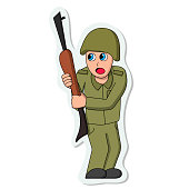 Scared soldier sticker. Isolated stock illustration