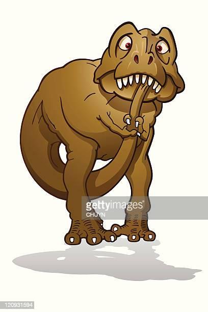 ilustraciones, imágenes clip art, dibujos animados e iconos de stock de asustada tyrannosaurus - jurásico