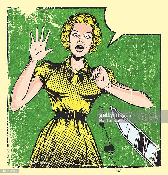 scared woman - murderer stock illustrations, clip art, cartoons, & icons