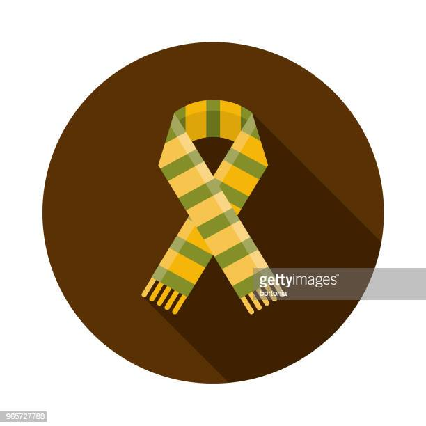 Scarf Flat Design Autumn Icon with Side Shadow