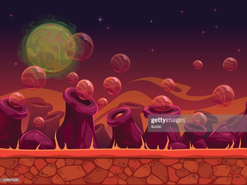 Scary another world vector seamless background