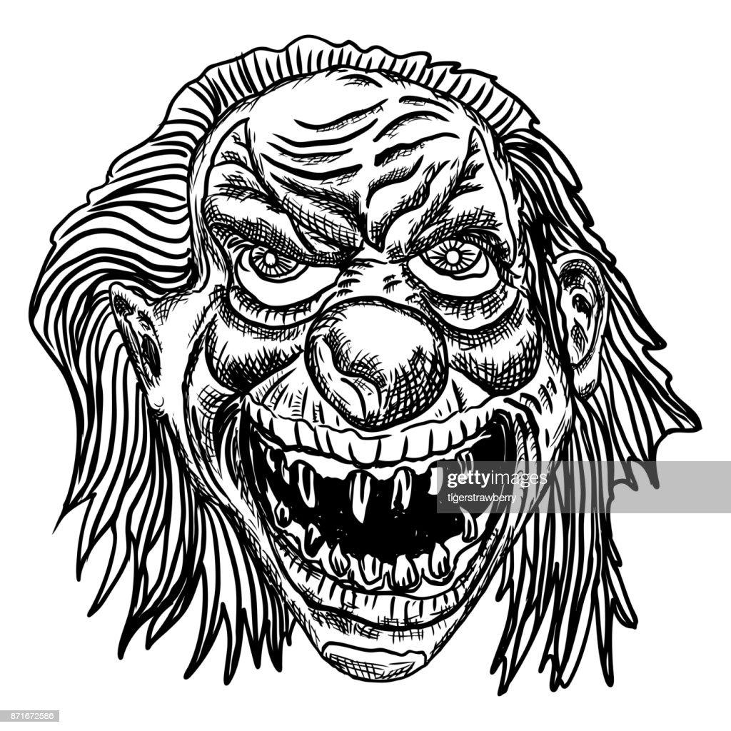 Desenho Palhaço Tatuagem ilustração de palhaço assustador dos desenhos animados