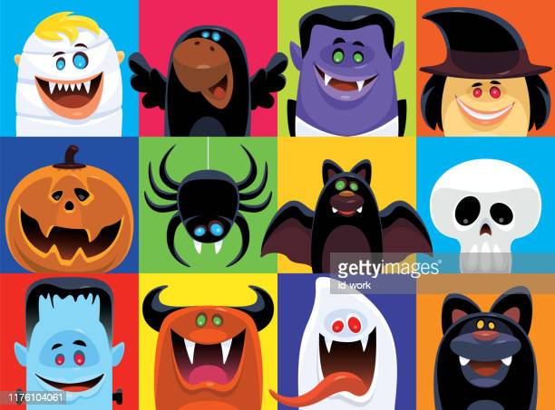 scary characters icons - characters stock illustrations
