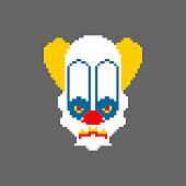 Scary clown pixel art. Terrible 8 bit eyes. Digital nightmare Vector illustration