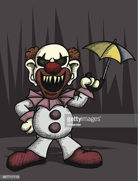 scary clown - phobia stock illustrations, clip art, cartoons, & icons