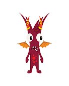 Scary Cool Monster Avatar - Animated Cartoon Character in Flat Vector