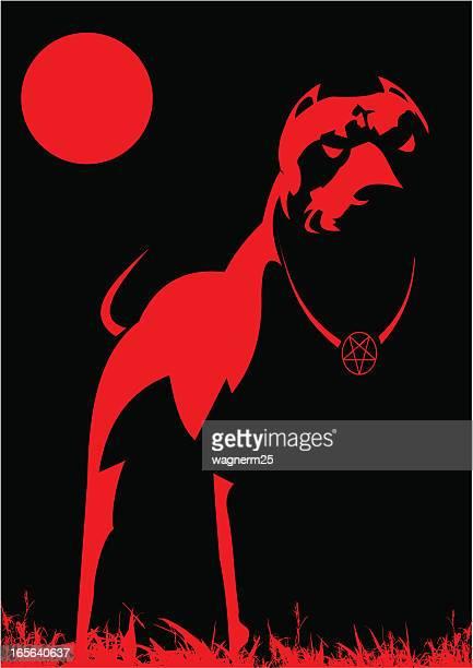 ilustraciones, imágenes clip art, dibujos animados e iconos de stock de scary perro del infierno - pit bull terrier