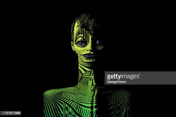 scary female alien with tattoos - magic eye stock illustrations
