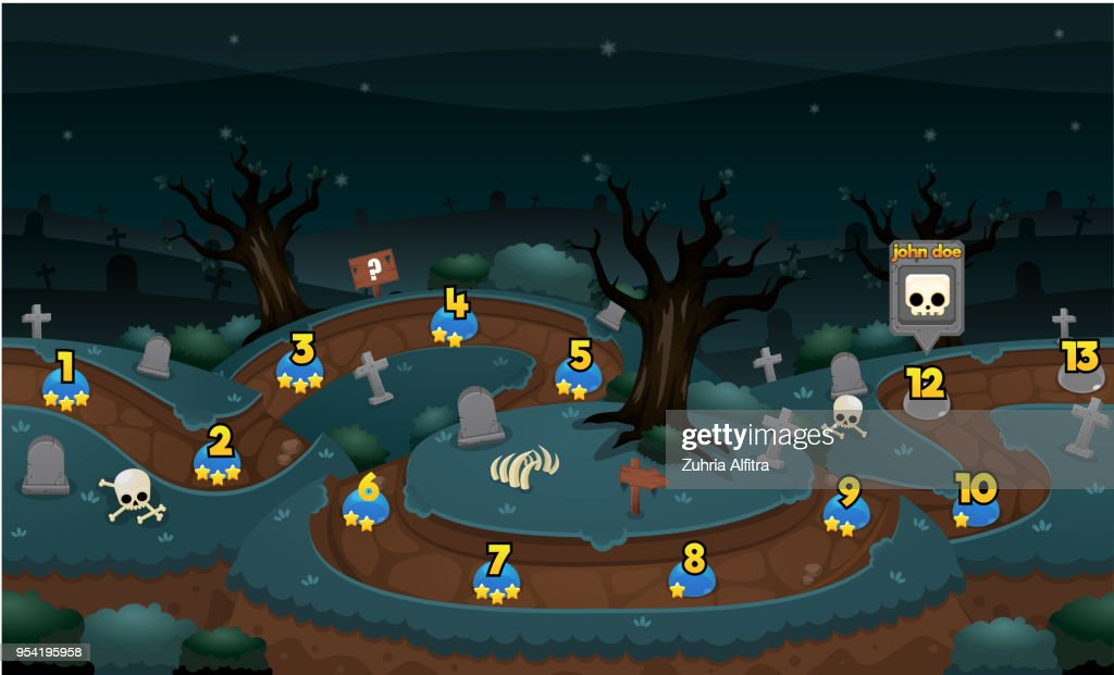 Scary Graveyard Game Level Map