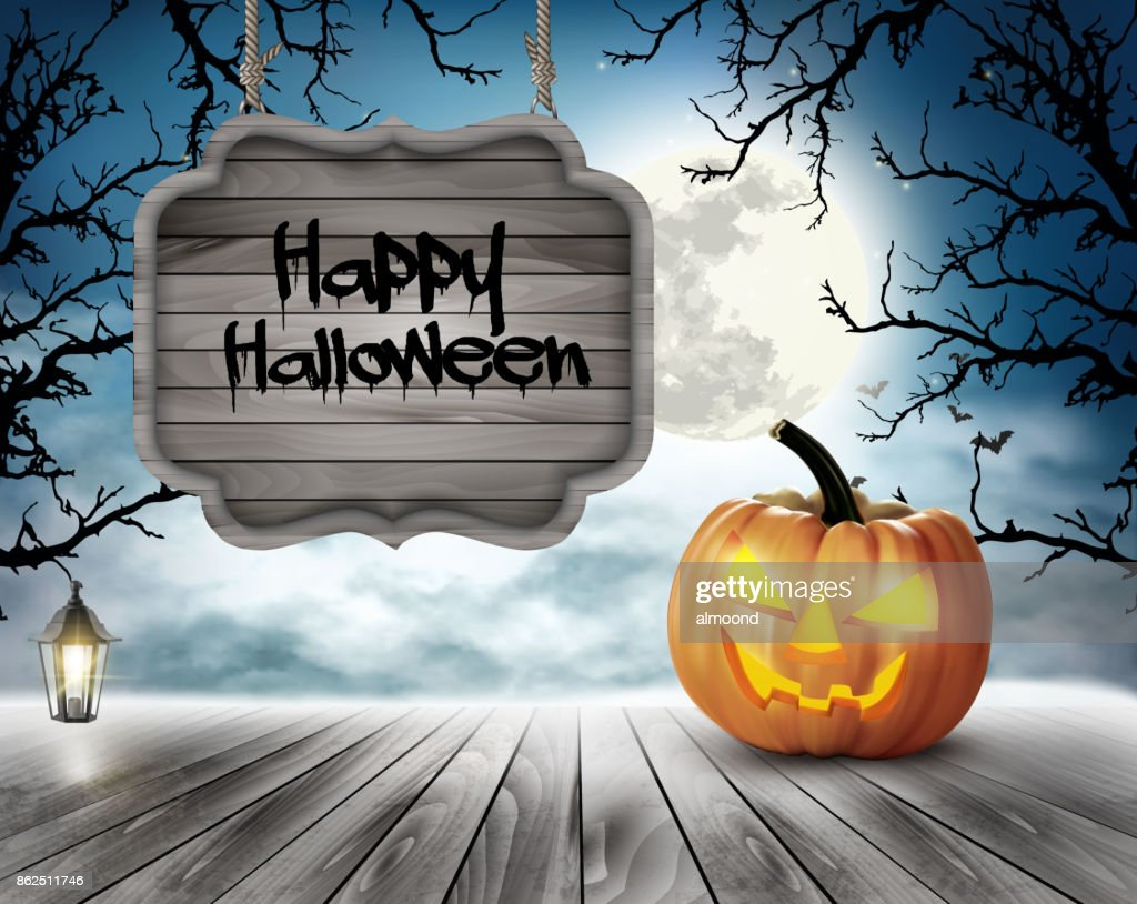 Scary Halloween background with pumpkins and wooden sign. Vector.