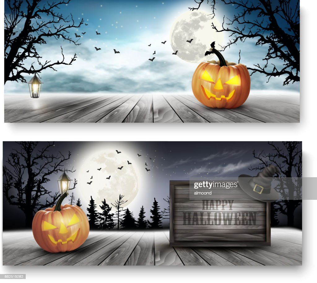 Scary Halloween banners with pumpkins and wooden sign. Vector.